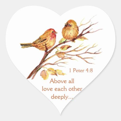Love Each Other Deeply: 1 Peter 4:8 Love Each Other Deeply Scripture Birds Heart