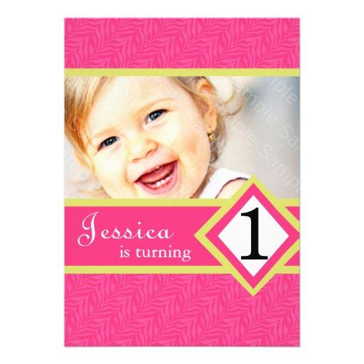 """1 Year Old Birthday Party Invitations Zebra GIRL 5"""" X 7"""