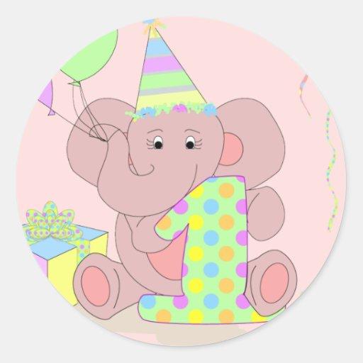 1st Birthday Elephant Sticker For Girls