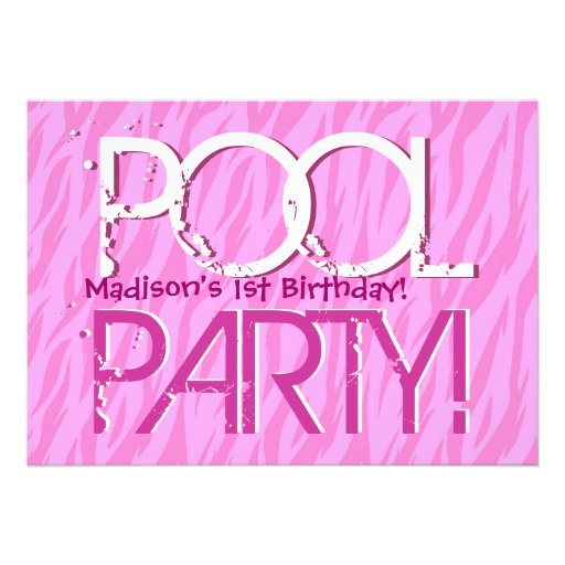 1st Birthday Pool Party Pink Zebra Waves Template 5x7