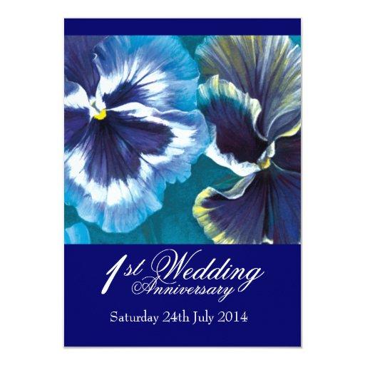 First Wedding Anniversary Celebration Ideas: 1st Wedding Anniversary Party Invitation Blue