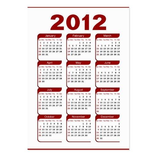 2012 pocket calendar large business card zazzle