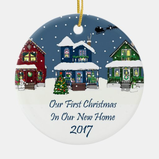 2017 New Home Christmas Snowy Houses Double-Sided Ceramic
