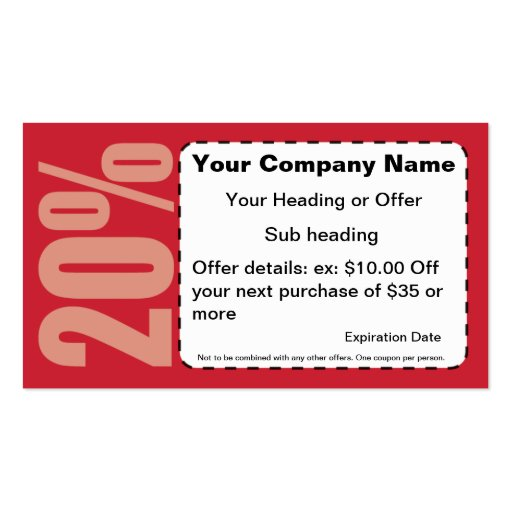 20% Off Coupon Business Card | Zazzle