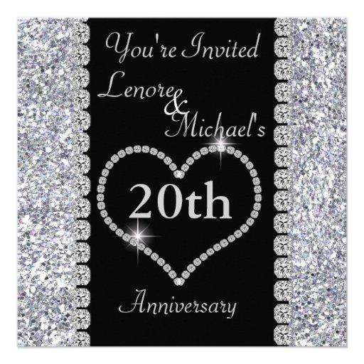 Personalized 20th Anniversary Party Invitations