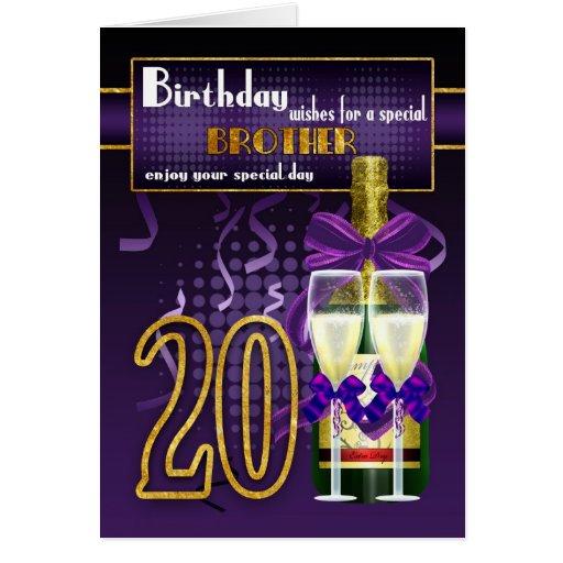 20th Birthday Brother - Stylish Birthday Card