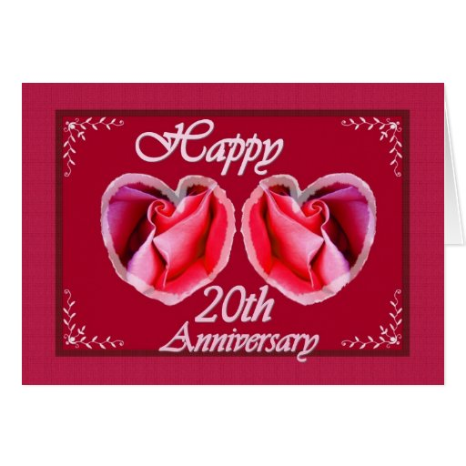20th Wedding Anniversary Fern Filled Heart Greeting Card