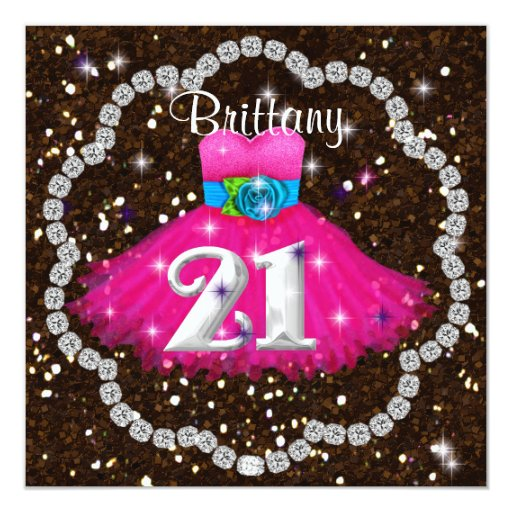 21st Birthday BLING Pink Party Dress Invitations