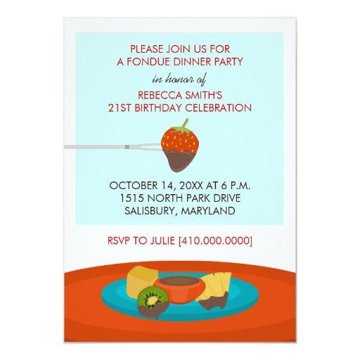 21st Birthday Fondue Dinner Party Invitations