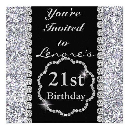 21st Birthday Party Invitation DIAMONDS & SPARKLES 5.25