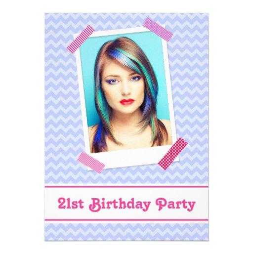 """21st Birthday Party Invitations Wacky Washi Tape 5"""" X 7"""