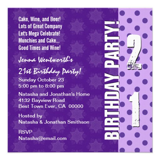 21st Birthday Party Modern Purple Square Template 5.25