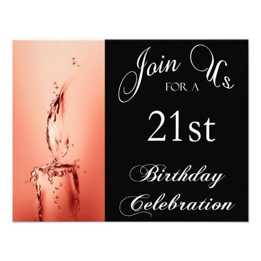 """21st Birthday Party Personalized Invitation 4.25"""" X 5.5"""