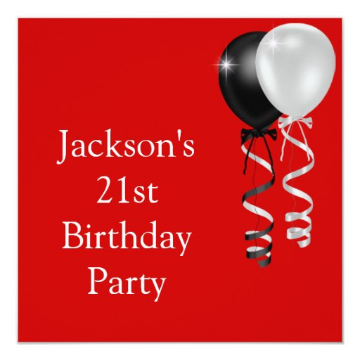 21st Birthday Red Black Silver White Balloons Card
