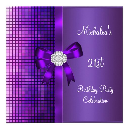 21st Birthday Sequins Purple Diamond Bow Personalized