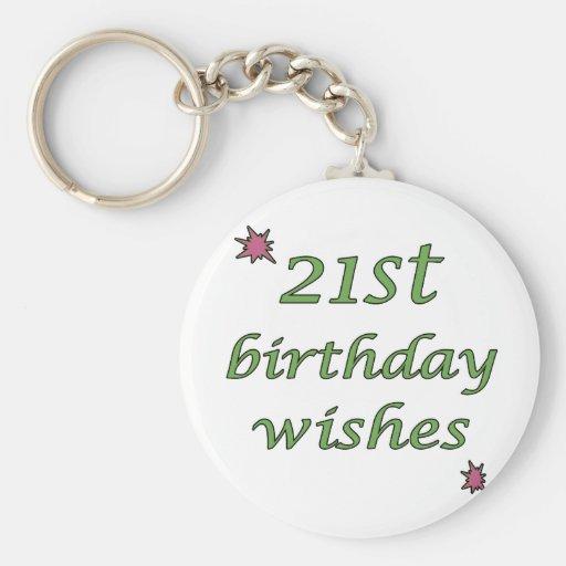 21st Birthday Wishes Basic Round Button Keychain