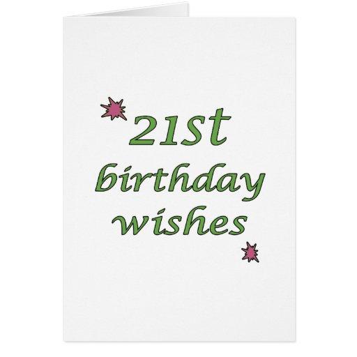 21st Birthday Wishes Card