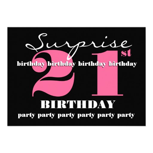 "21st SURPRISE Birthday Party Invitation Template 5"" X 7"
