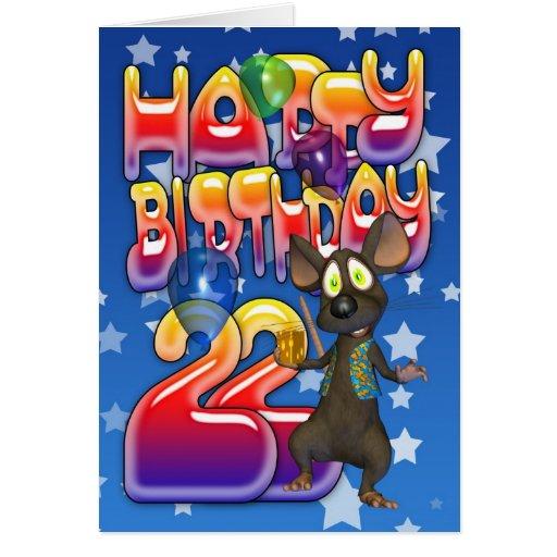 22nd Birthday Card, Happy Birthday