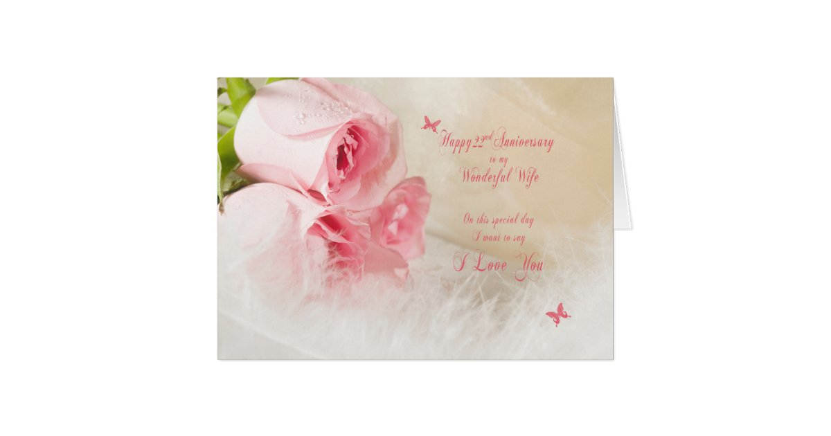 22nd Wedding Anniversary Gift Ideas: 22nd Wedding Anniversary For Wife With Roses Card