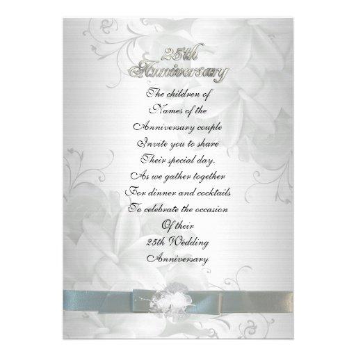 "25th Wedding Anniversary Invitation Cards For Parents: 25th Anniversary For Parents Invitation 5"" X 7"" Invitation"