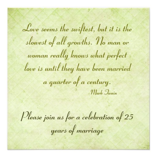 25th Wedding Anniversary Quotes: 25th Anniversary Party-Mark Twain Quote 5.25x5.25 Square