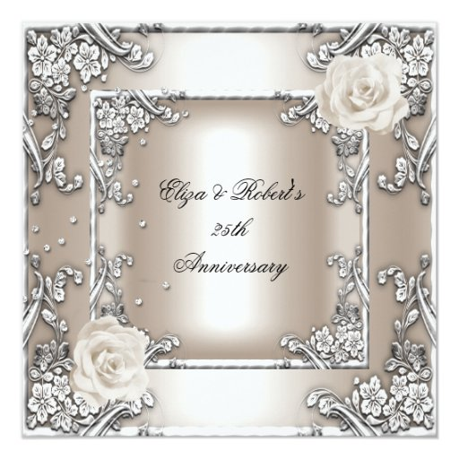 25 Wedding Anniversary Celebration Ideas: 25th Anniversary Wedding Cream Rose Silver Party