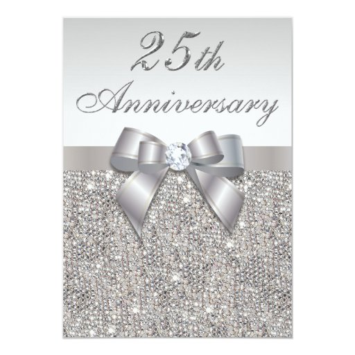 25th Wedding Anniversary Invitations: 25th Silver Wedding Anniversary Faux Sequins & Bow
