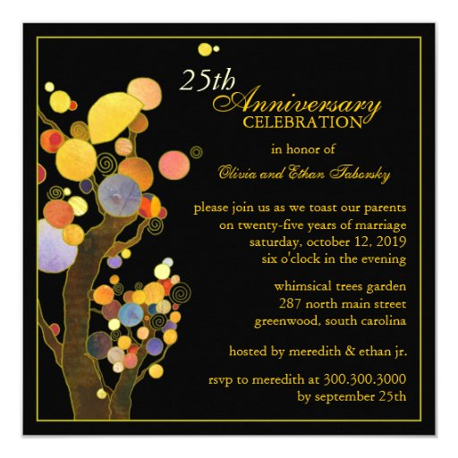 25th Silver Wedding Anniversary Party Invitations