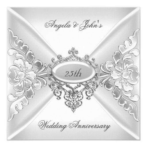 25th Wedding Anniversary Invitation Cards For Parents: 25th Wedding Anniversary Elegant Silver White Card