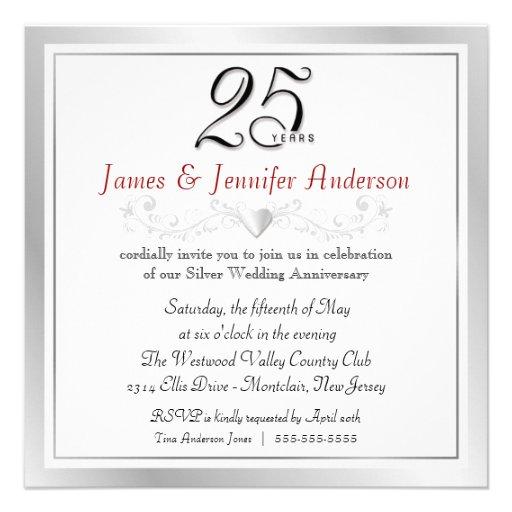 Wedding Anniversary Invitation Message: 25th Wedding Anniversary Party Invitations