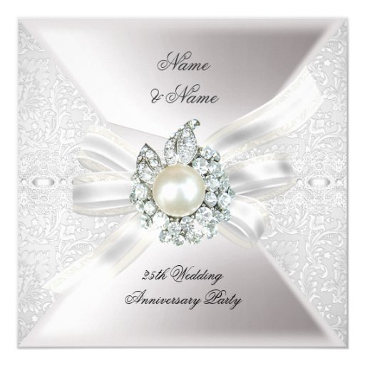 25 Wedding Anniversary Celebration Ideas: 25th Wedding Anniversary Party Lace Pearl White Card