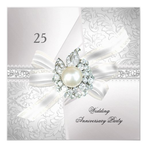 25th Wedding Anniversary Party Pearl White Silver Invitation