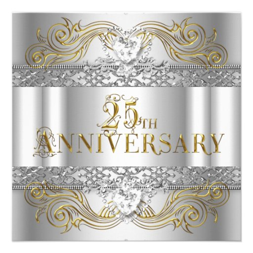 25th Wedding Anniversary Silver Gold Party Announcement