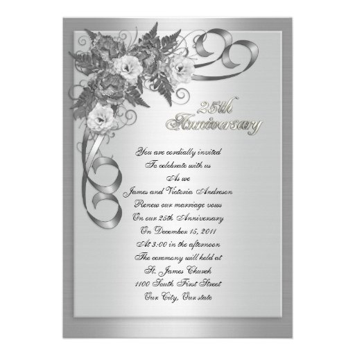25th Wedding Anniversary Invitations: 25th Wedding Anniversary Vow Renewal White Roses 5x7 Paper