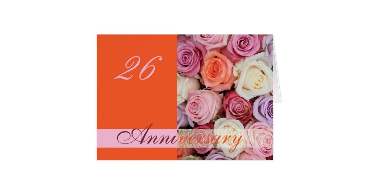 26th Wedding Anniversary Gift: 26th Wedding Anniversary Card Pastel Roses