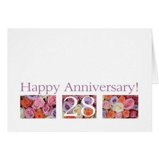 28th Wedding Anniversary Gift: 28th Wedding Anniversary Card Pastel Roses