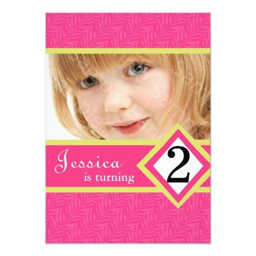 """2 Year Old Birthday Party Invitations Zebra GIRL 5"""" X 7"""