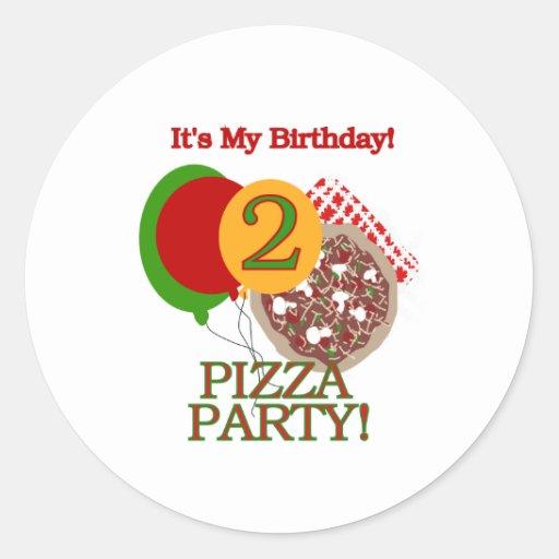 2nd Pizza Party Birthday Classic Round Sticker