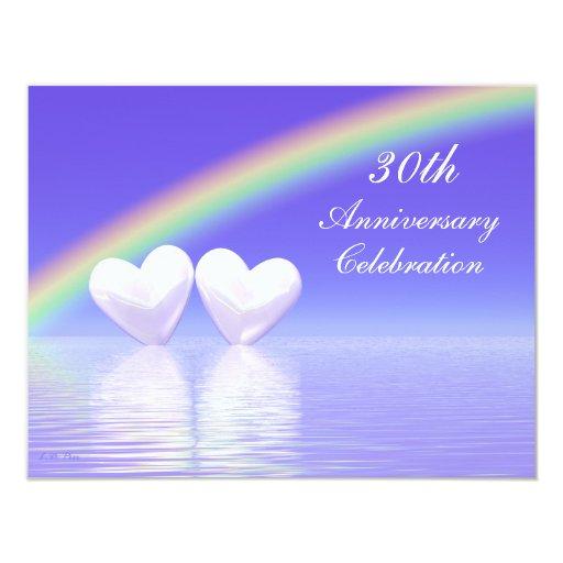 25 30 Anniversary Cap: 30th Anniversary Pearl Hearts 4.25x5.5 Paper Invitation