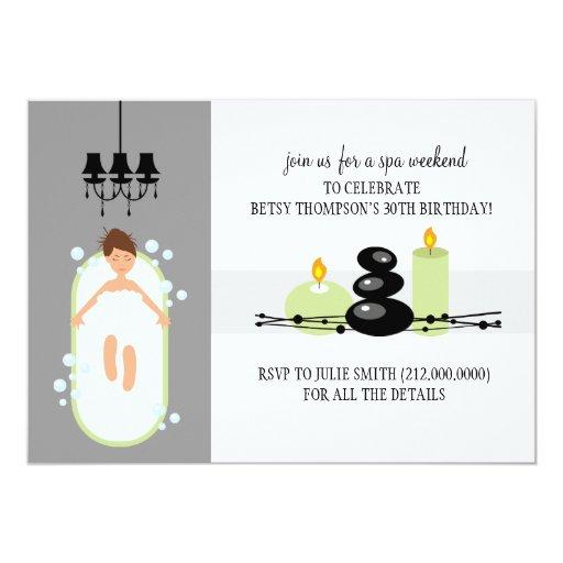 30th Birthday Girly Spa Weekend Getaway Invitation