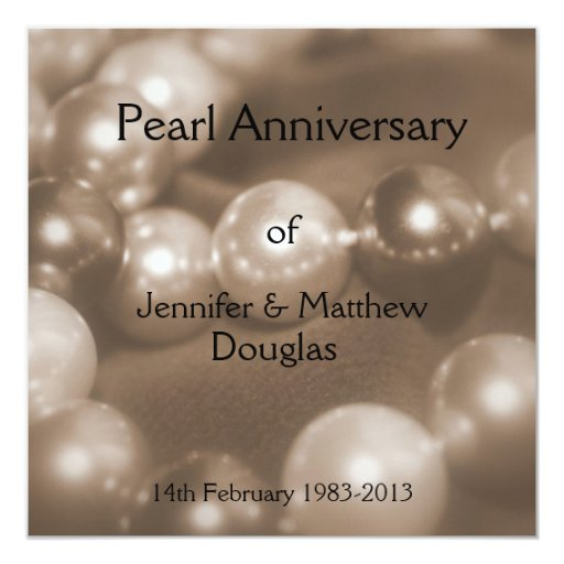 30th Wedding Anniversary Invitations: 30th Pearl Wedding Anniversary Celebaration Invitation