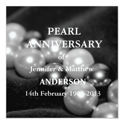 Ideas For Pearl Wedding Anniversary Gifts: 30th Pearl Wedding Anniversary Celebarationll(B&W