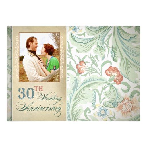 "30th Wedding Anniversary Invitations: 30th Wedding Anniversary Photo Invitations 5"" X 7"
