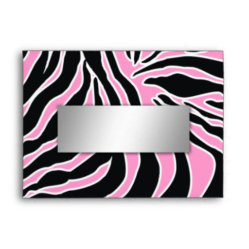 311-Zebra Print Envelope Pink   Silver Name Plate   Zazzle