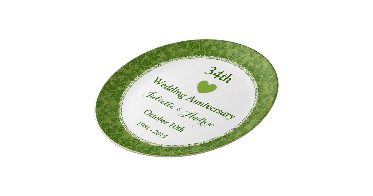 34th Wedding Anniversary Gifts: 34th Wedding Anniversary Olive Green Damask A34A Porcelain