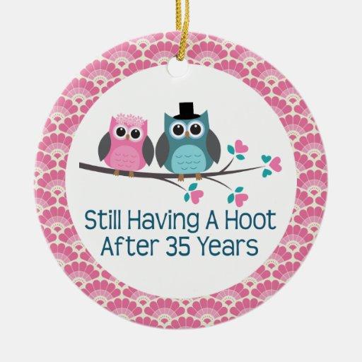 Wedding Anniversary 35 Years Gifts: 35th Anniversary Owl Wedding Anniversaries Gift Christmas
