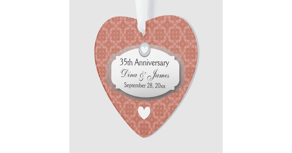 Coral Gifts 35th Wedding Anniversary: 35th Anniversary Wedding Anniversary Coral Z22 Ornament