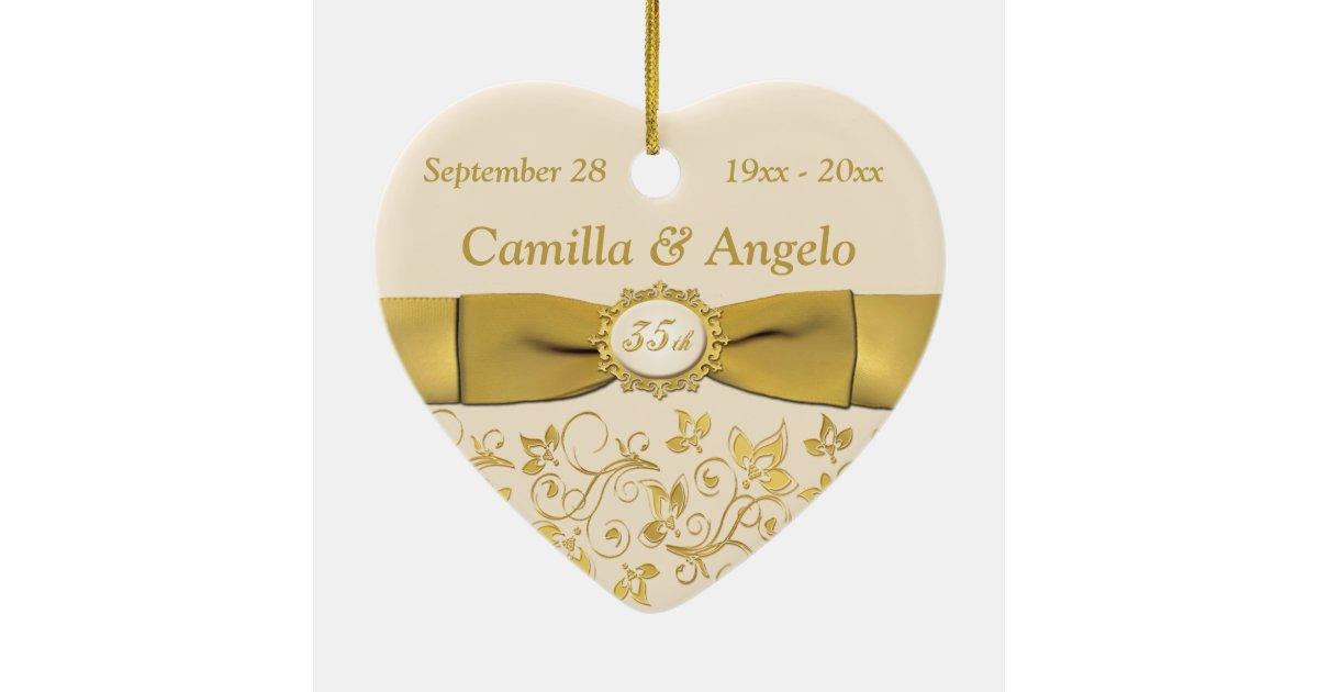 35th Wedding Anniversary Christmas Ornament | Zazzle