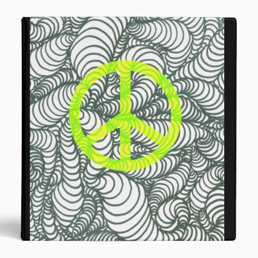 3-D Spiral Line Drawing With Peace Sign Binder